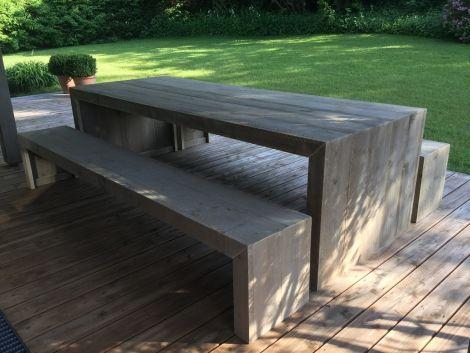 Gartengarnitur Wismar aus Bauholz 260 x 97 cm mit Grey Wash
