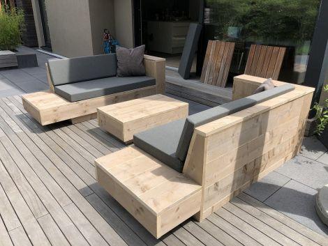 Lounge Sofa Norderney 200 cm aus transparent geöltem Bauholz mit Kissen Southend 160 Anthracite und Beistelltisch Amrum 100 x 60 x 32 cm