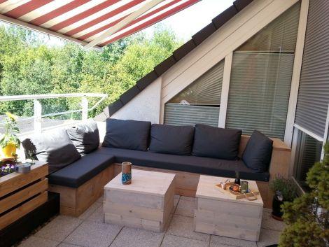 Douglasie Lounge Ecksofa Lüneburg 160 x 280 cm mit transparentem Öl und Kissen in Cartenza 167 Graphite
