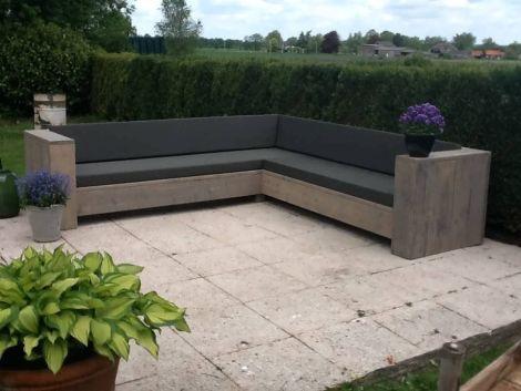 Garten Lounge Eckbank Aachen aus Grey Wash geöltem Bauholz mit Kissen in Standard 163 Anthracite