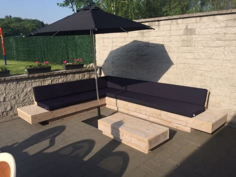 Bauholz Lounge Sofa Amrum mit transparentem Öl, Cartenza 090 Black Kissen