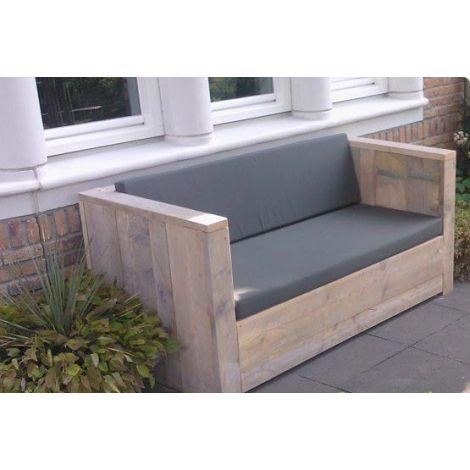 Bauholz Lounge Sofa Meppen mit Grey Wash Öl, Cartenza 167 Graphite Kissen