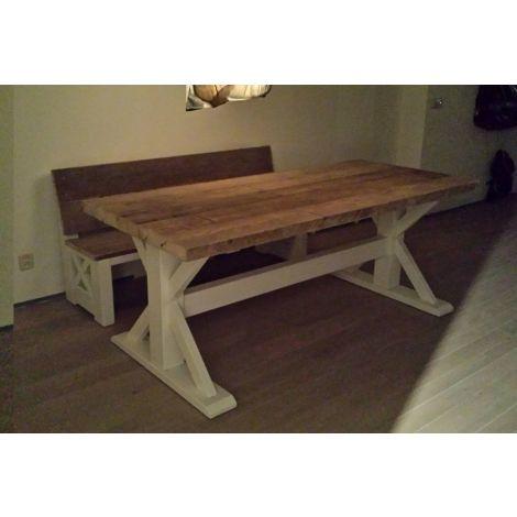 Bauholz Esstisch Pulheim Landhaus-Stil; Tischplatte mit Lack