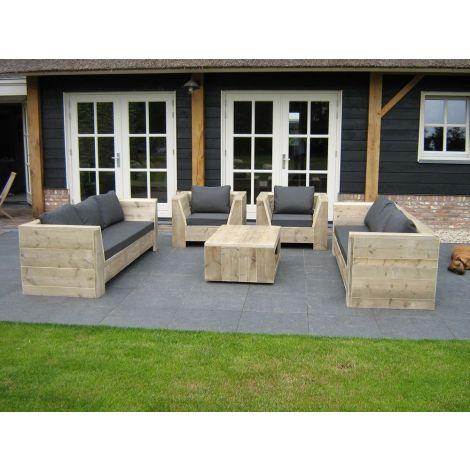 Bauholz Lounge-Set Erkheim mit transparentem Öl, Cartenza 167 Graphite kissen und Flopkissen anstatt durchgehendes Rückenkissen
