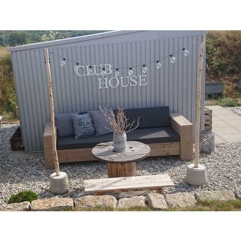 Bauholz Lounge Sofa Balingen 200 cm, transparentem Öl, Cartenza 167 Graphite Kissen und extra Flopkissen Cartenza 021 Moss Green