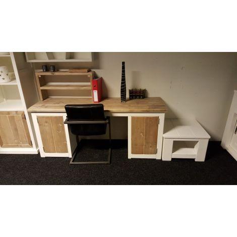 Bauholz Schreibtisch Singen im Landhaus-Stil, Tischplatte mit Lack