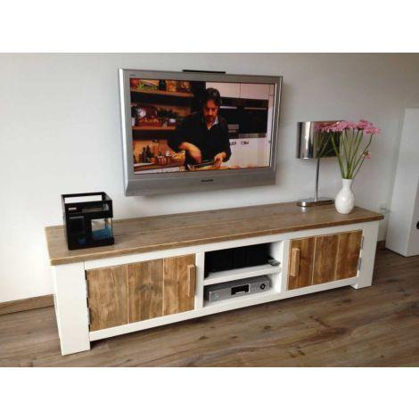 TV Schrank Mülheim in Bauholz mit Deckweiss + Innenlack