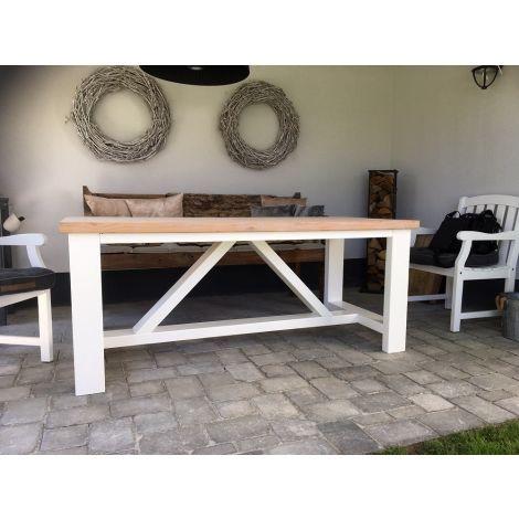 Gartentisch Passau aus Douglasie im Landhaus-Stil, 180 x 78 cm mit Grey Wash und 5 cm Tischplatte