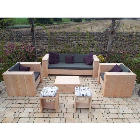 Douglasie Lounge Set Krombach (ohne Hocker) mit Cartenza 167 Graphite Kissen