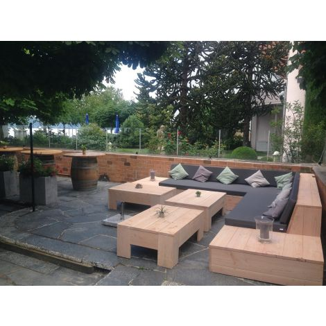 Gartenmöbel aus Douglasie: Lounge Ecksofa Sylt 400 x 400 cm transparent geölt mit Kissen in Cartenza 167 Graphite