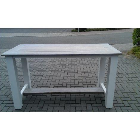 Bauholz Bartisch Leverkusen Gestell in Deckweiß, Tischplatte mit White Wash Lack