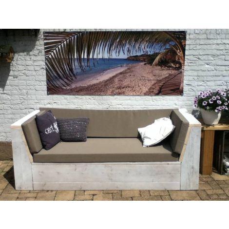 Bauholz Lounge Sofa Erbach mit White Wash Behandlung, Cartenza 163 Anthracite Kissen